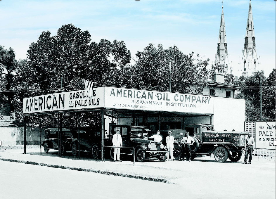 Colonial_American Oil Service Station with Blue Sky